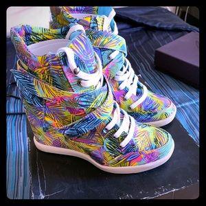 Material Girl Hightop Sneaker Wedges - Yvonne